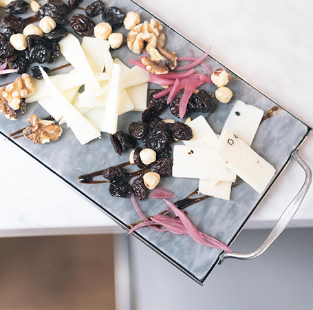 Fruit, nuts and cheese board