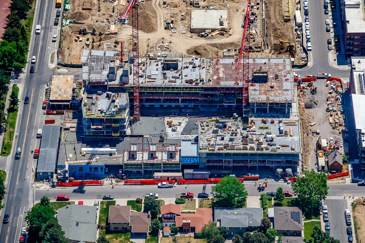 Overhead construction shot of Lakehouse Denver